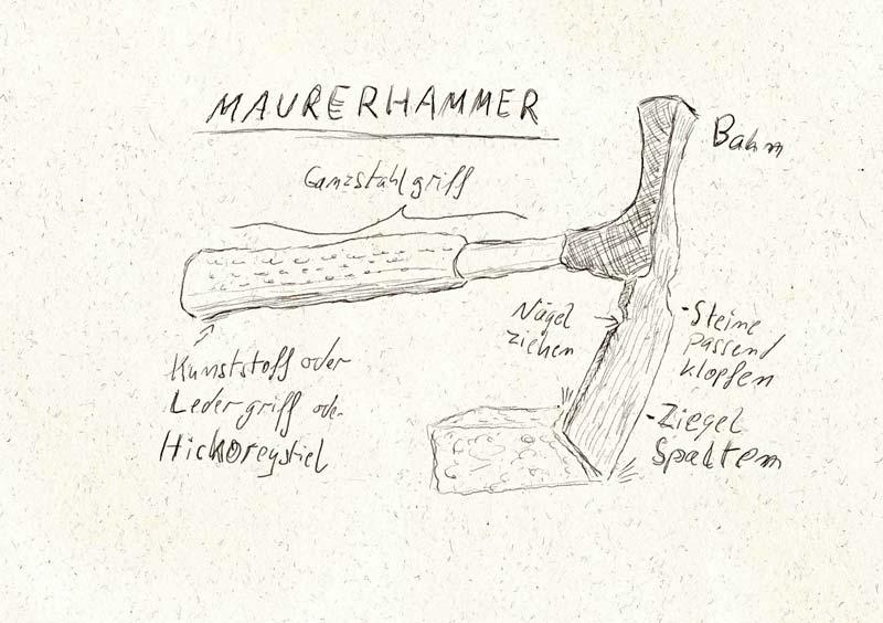 Maurerhammer mit Funktionen